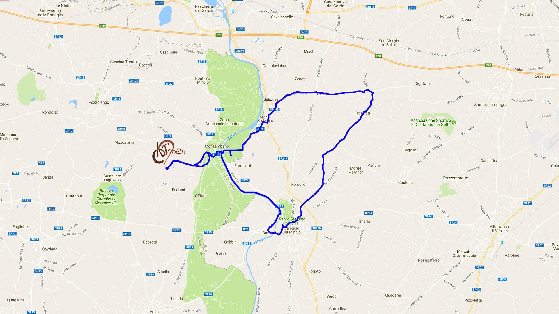 percorso Monzambano-Salionze-Oliosi-Borghetto