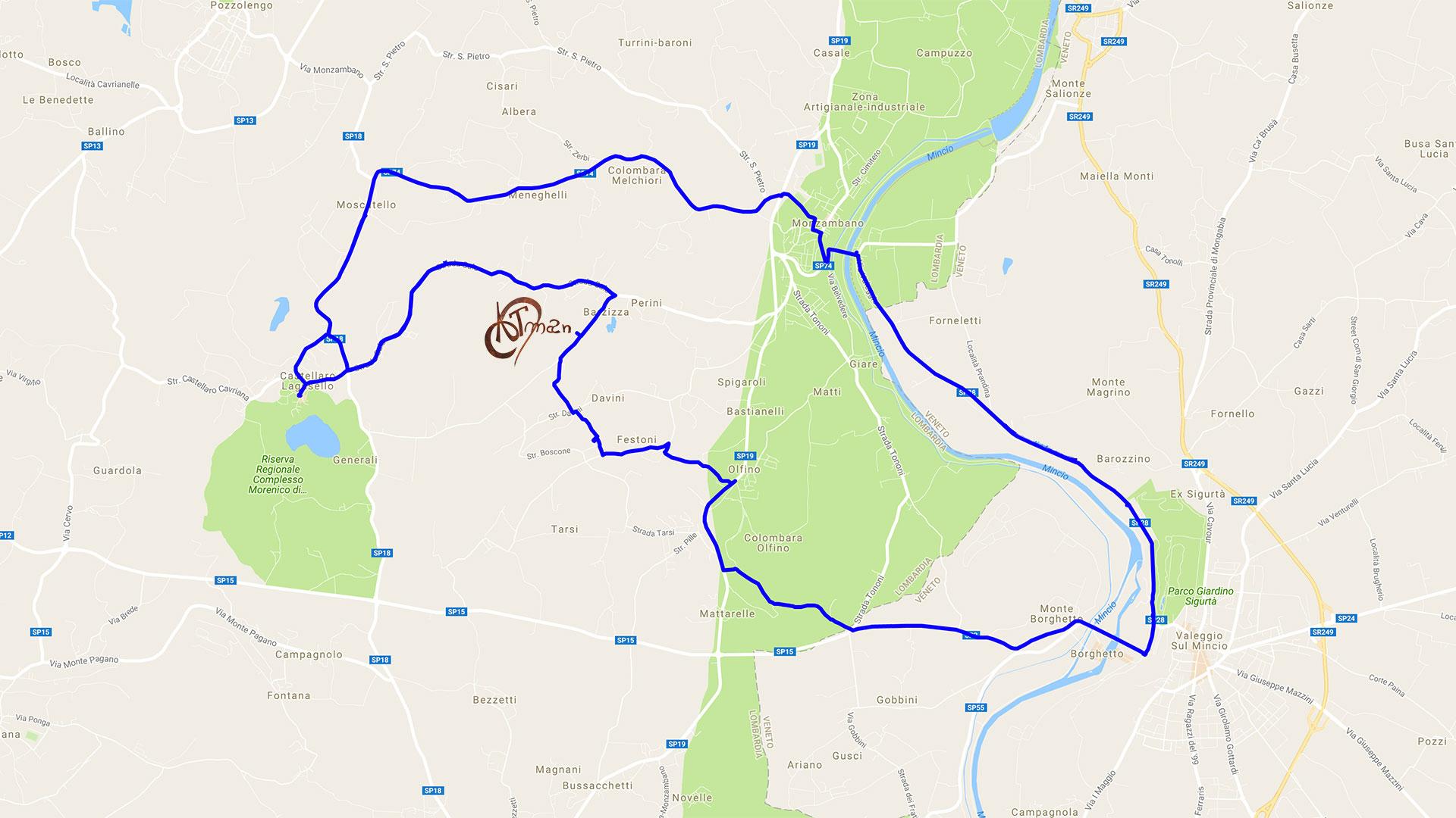 Percorso-Castellaro-Monzambano-Valeggio-Borghetto