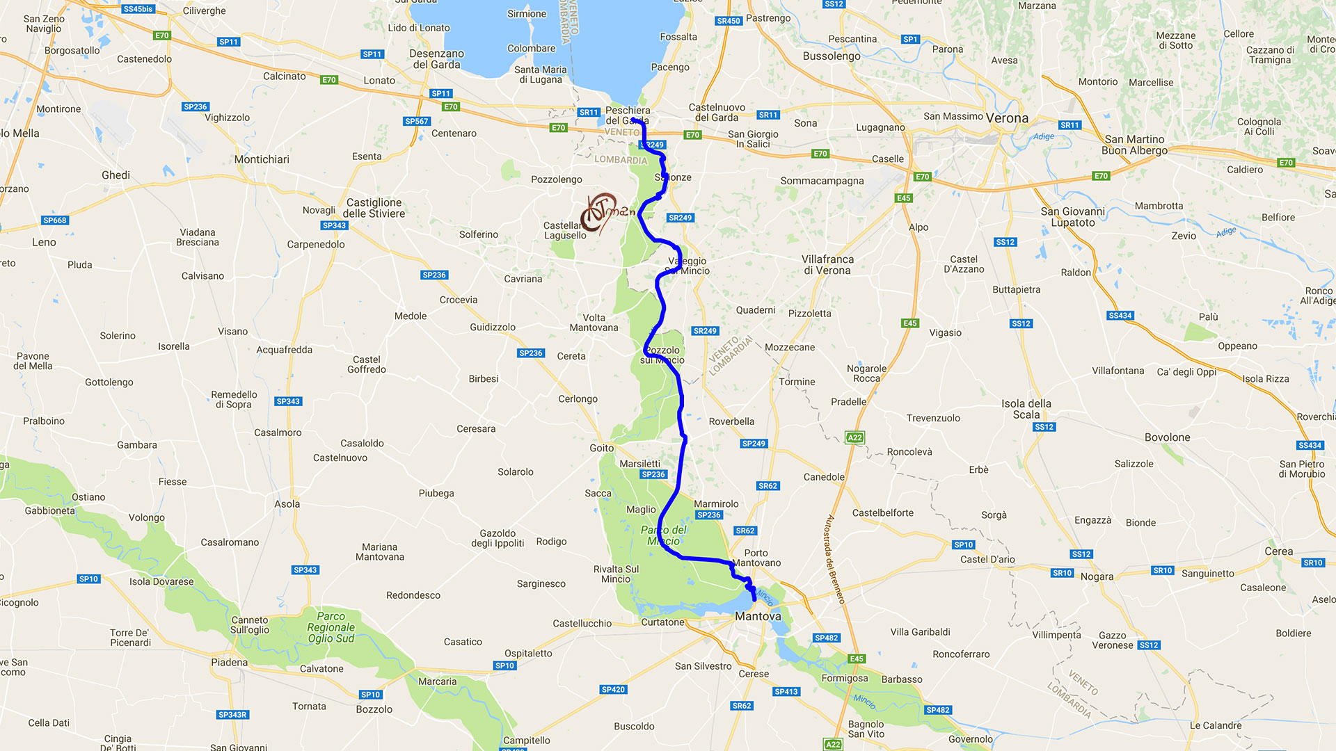 Percorso ciclovia Peschiera Mantova